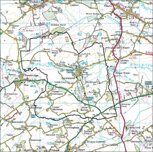 Eardisland Civil Parish Boundary Map